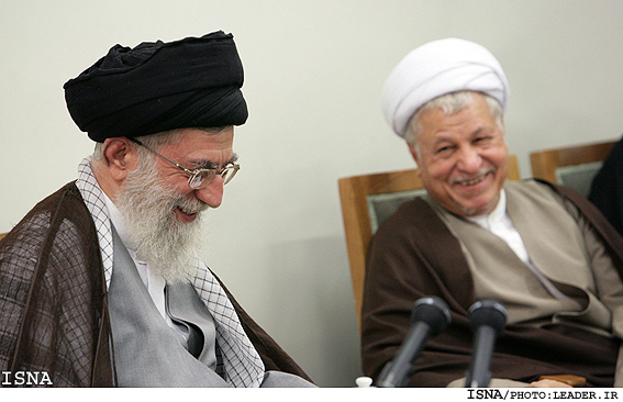 Ayatollahs Khamenei and Rafsanjani at todays meeting