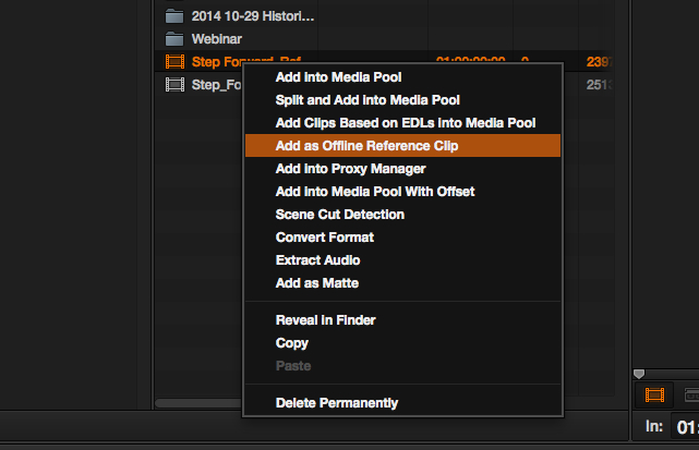 adding offline reference movie in Resolve