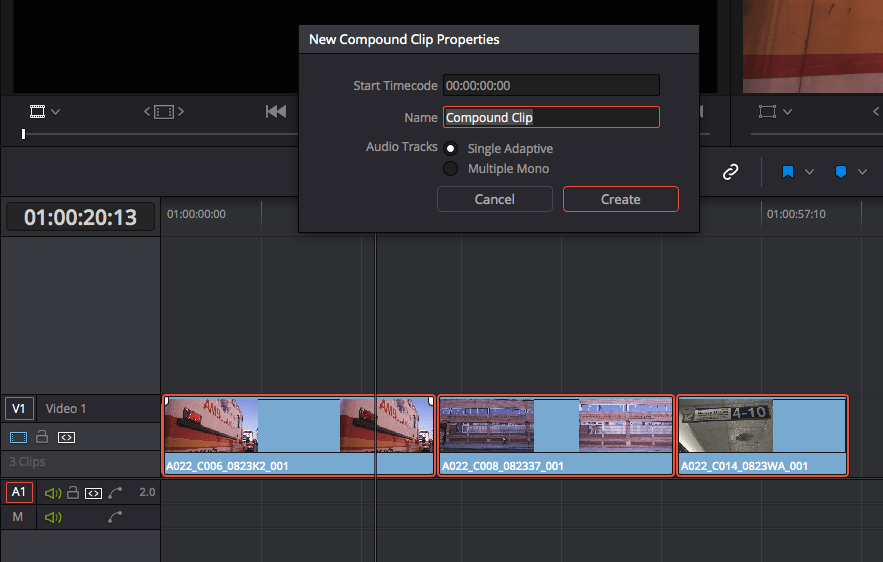 Using Compound Clips in DaVinci Resolve: creating a compound clip: compound clip properties
