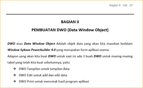 Pembuatan Datawindow Object (DWO)