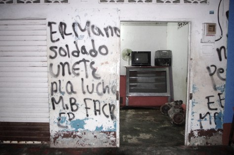 """Graffitti in Puerto López.  It reads """"Brother Soldier Join the Fight"""""""