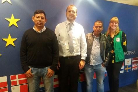 Iván, Antonio García (consejero político encargado de derechos humanos de la delegación de la Unión Europea en Colombia), Andrés, Hannah