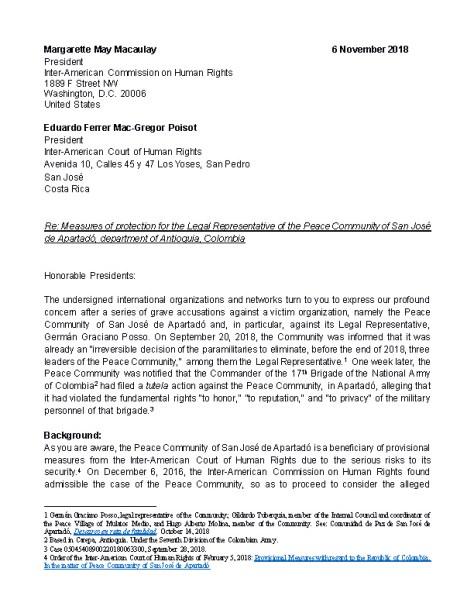 Letter to IACHR and CorteIDH Peace Community of San Jośe de Apartadó_Page_1