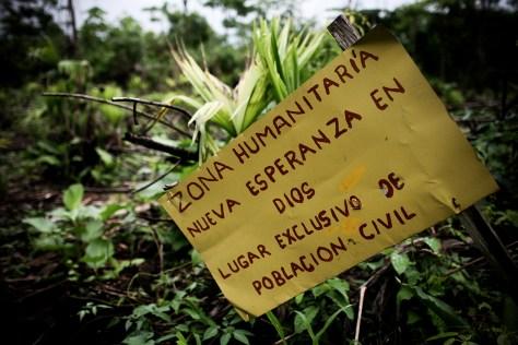 Una Zona Humanitaria es un espacio protegido para uso exclusivo de la población civil. Foto: Charlotte Kesl
