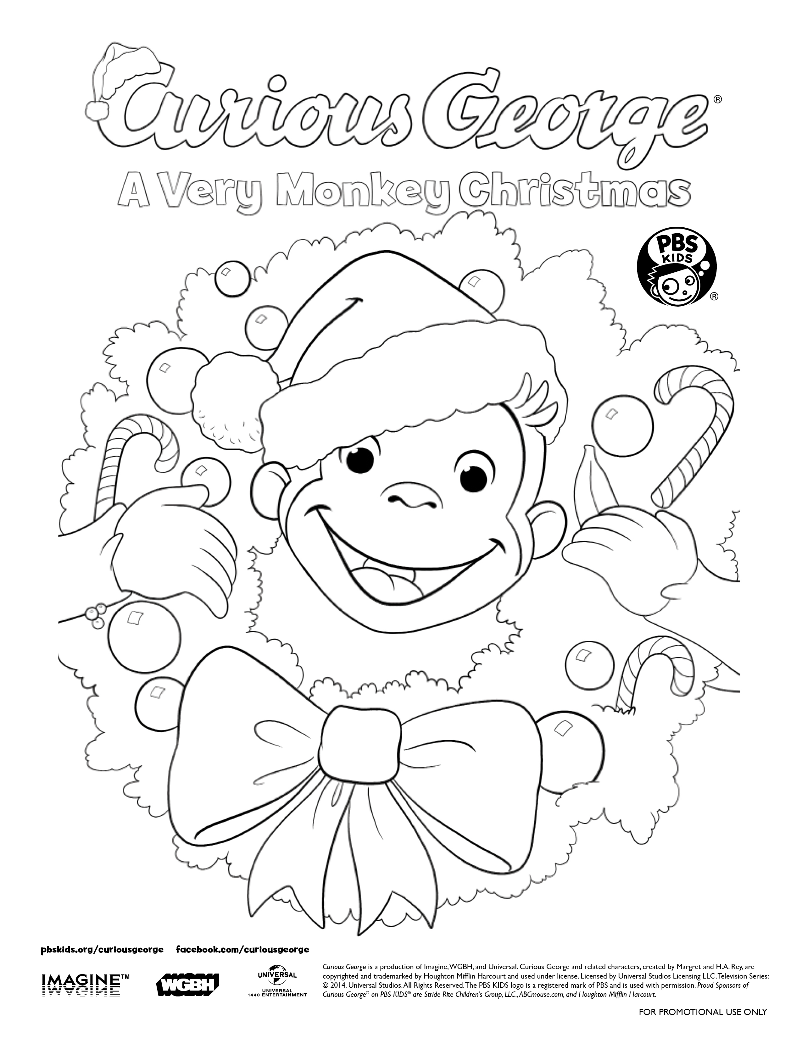 Print Out A Curious George Holiday Coloring Sheet