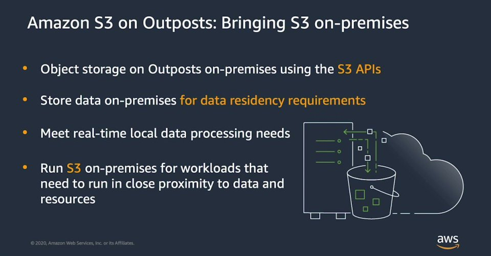 Image for the Tweet beginning: Amazon S3 on Outposts delivers