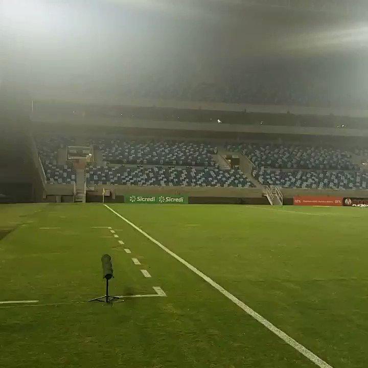 Arena Pantanal sendo preparada para receber Cuiabá x Cruzeiro. Partida marcada às 22h no horário de Brasília, mas por conta do fuso horário do Mato Grosso, em Cuiabá a partida é 21h.  #PantanalENM