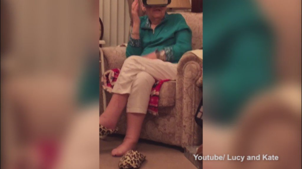 Grandma gets the shock of her life in a VR headset