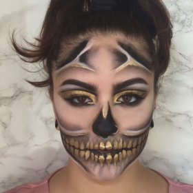Get this Golden Skull Halloween look in six easy steps Halloween skull makeup tutorial