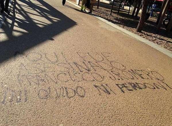 [Foto Twitter] Pintada amenazante donde murió el ultra del Deportivo en Madrid 2