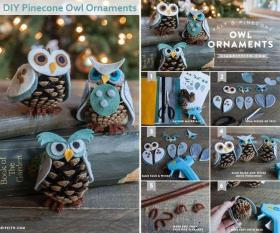 Diy Pinecone Owl Ornaments - Christmas Crafts