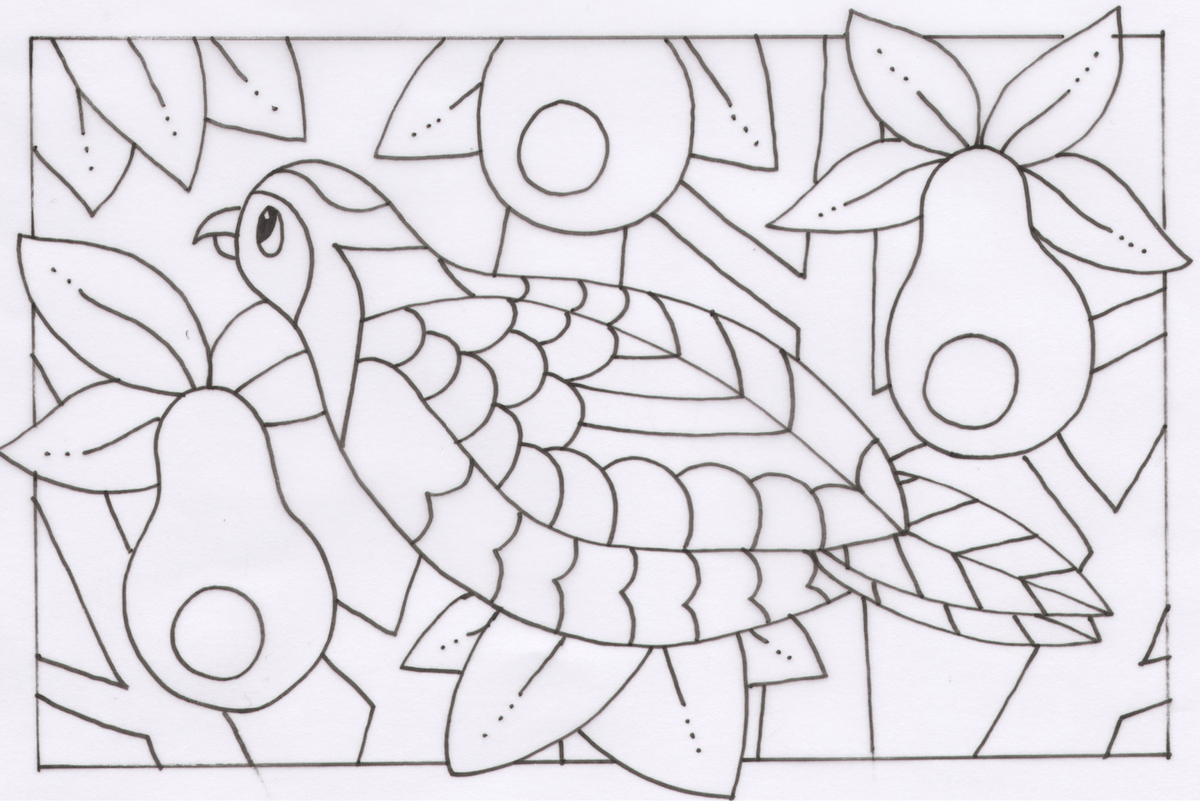 Coloring Page Partridge In A Pear Tree