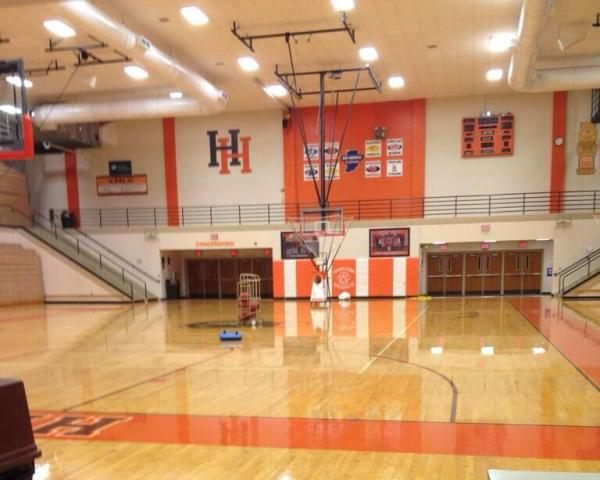 High school basketball court ceiling height for Basketball gym dimensions