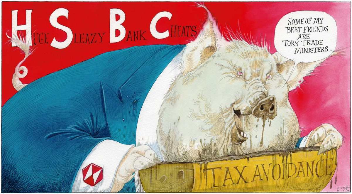 Cartoon about the HSBC scandal, by Chris Riddell in Britain