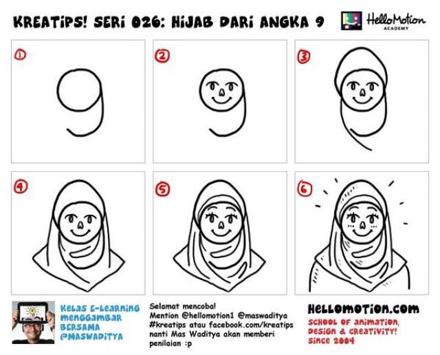 Cara menggambar orang berhijab sederhana