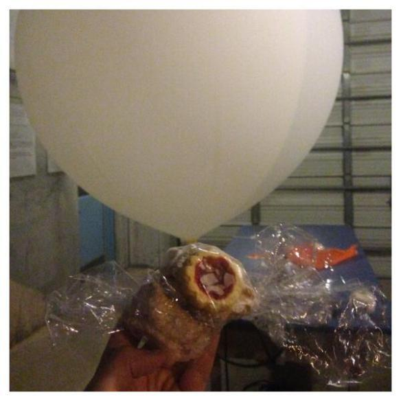 A sounding balloon with cookies attached launched by the National Weather Service Office in Miami.