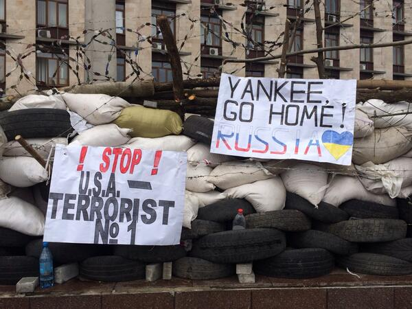 Yankee Go Home! Posters on the barricades in the People's Republic of Donetsk. #ukraine http://t.co/og0OyIQtkC