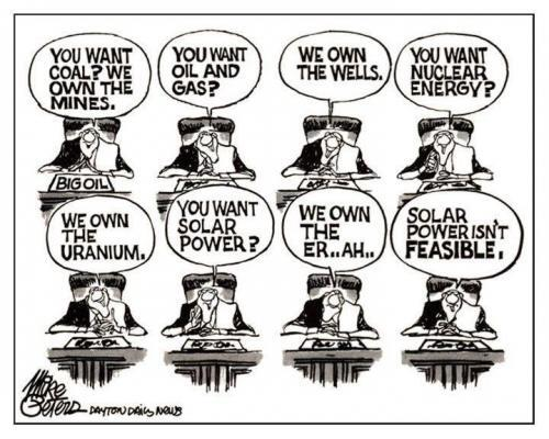 Cartoon depicting how the fossoil industry would be tempted to claim that solar power is infeasible -- because it doesn't own the sun. Loses a lot in translation :/