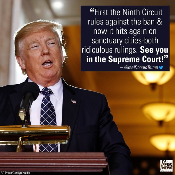 .@potus slams sanctuary city ruling, says opponents are ...