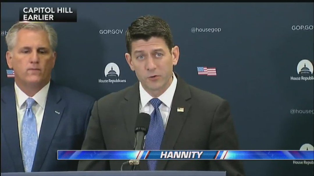 """.@SpeakerRyan: """"We will continue to keep our promise to repeal and replace #Obamacare."""" #Hannity"""
