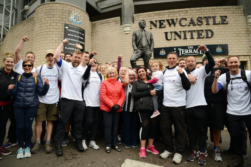 Walkers complete 333-mile charity trek in memory of Newcastle fan who died from cancer