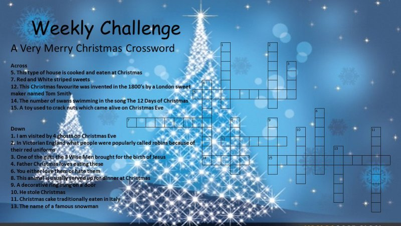 Christmas tree decoration crossword for Backyard party decoration crossword