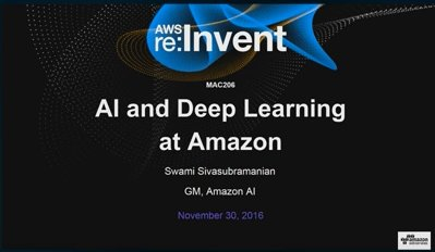 Watch the 2016 #reInvent #MachineLearning Mini Con sessions here: