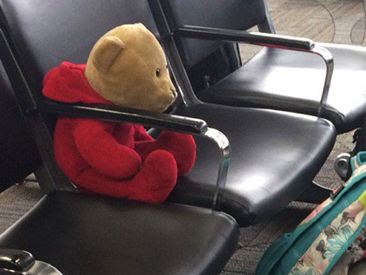 Happy ending for girl who lost teddy bear in airport rampage.