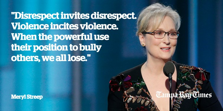 Meryl Streep called out Donald Trump at the #GoldenGlobes. Read and watch her full speech: ?