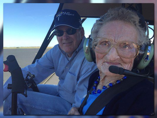Woman given a helicopter ride for her 103rd birthday: