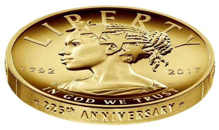 New $100 U.S. gold coin depicts Liberty as a black woman