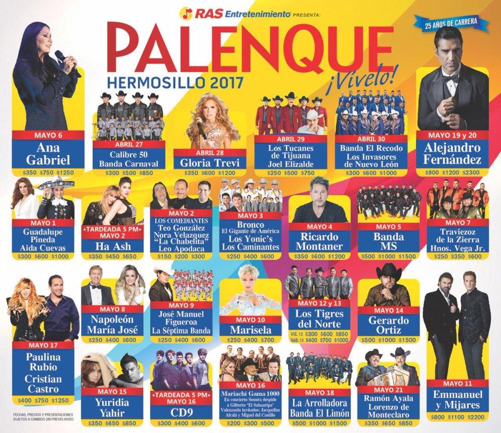 Cartelera del Palenque Expogan Hermosillo 2017