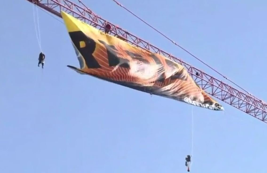 #Greenpeace protesters unfurl giant
