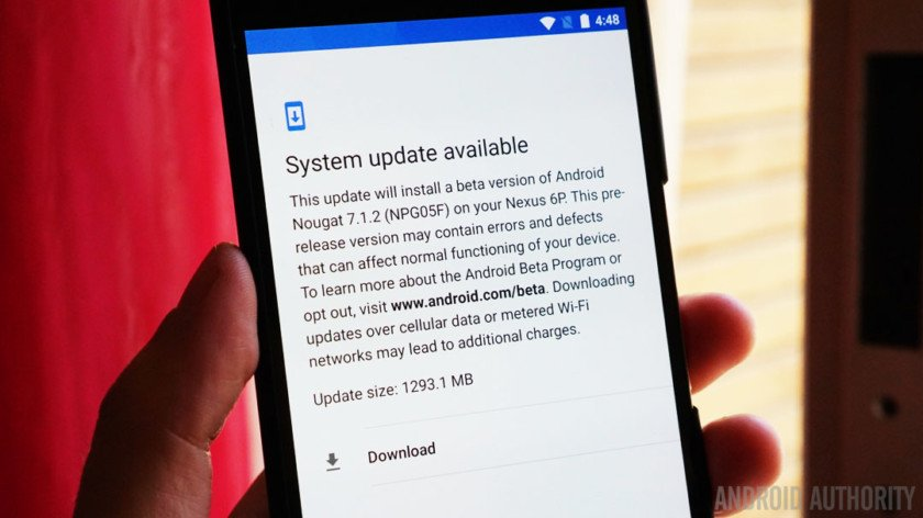 Android 7.1.2 beta available for Nexus 6P with no fingerprint gestures...