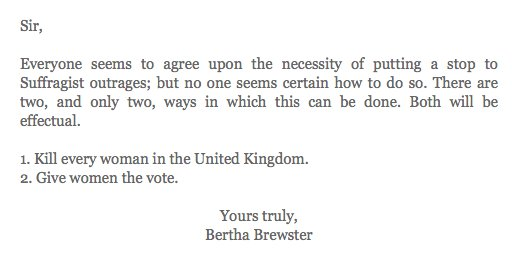 A suffragette writes to the Telegraph in 1913. #InternationalWomensDay