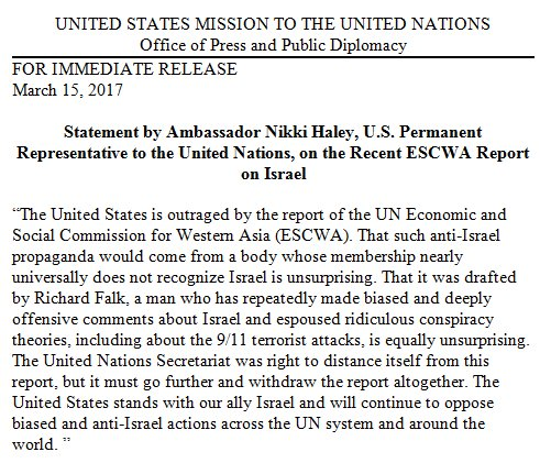 """The U.S. stands with our ally #Israel & will continue to oppose biased & anti-Israel actions across the @UN system and around the world."""