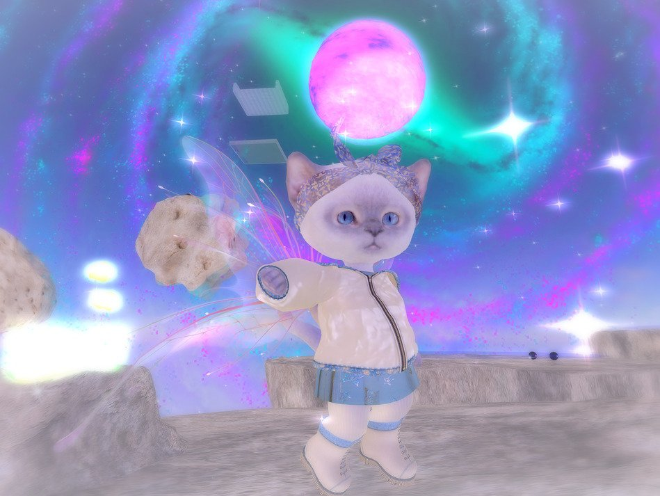 Sometimes I become a little kitty for fun.  #secondlife #VirtualReality #kitten
