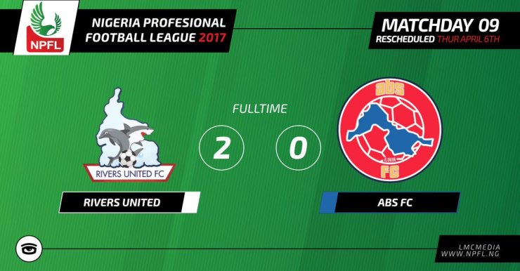 NPFL : Rivers United 2 ABS 0: United Ends Winless Run 4