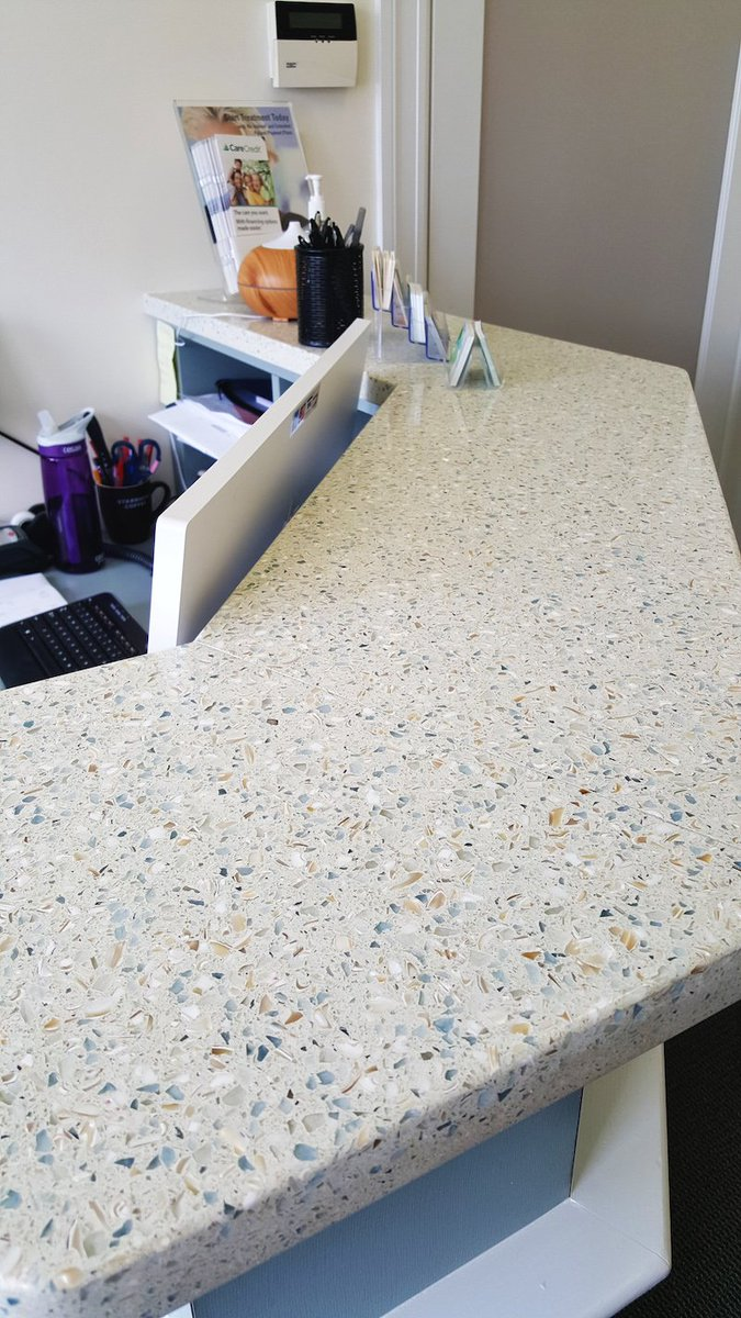 Icestone Llc On Twitter This Icestone Sky Pearl Reception Desktop On A Matte Sky Blue White Painted Desk Is A Great Use Of Color Coordination Https T Co 8nq1evl4ay
