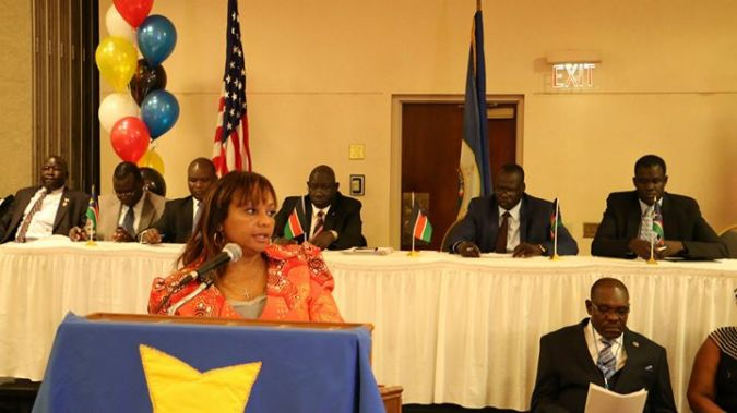 Suzanne addressing the SPLM chapter in America