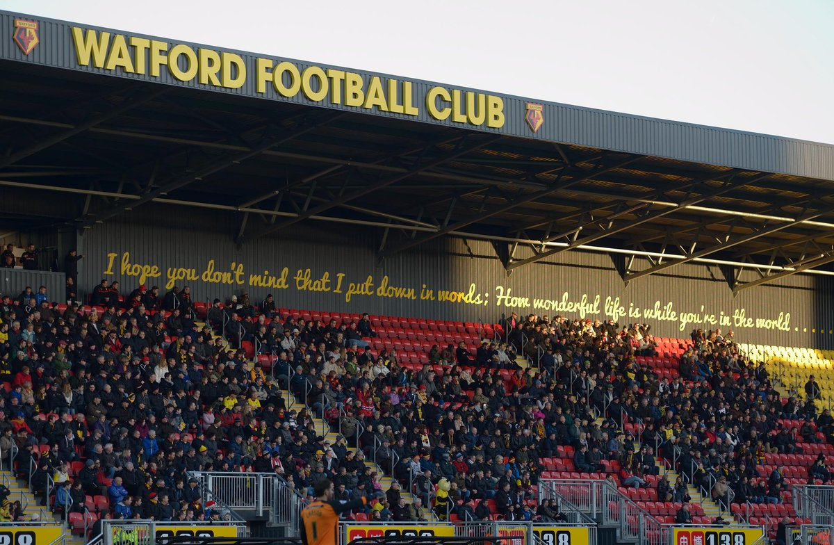 """Alex Bennett on Twitter: """"Anyone know what font the Elton John lyrics are  written in on the back of the stand? #watfordfc http://t.co/ade0FxJAGF"""""""