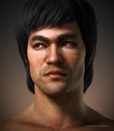 Bruce Lee süper gerçekçi bir 3D Model. Alexander Beim Sculpts