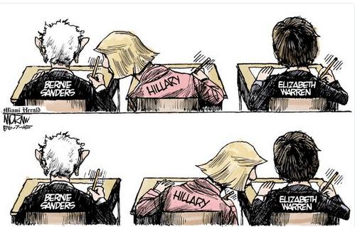 Cartoon of Hillary looking off the notes of Bernie Sanders and Elizabeth Warren