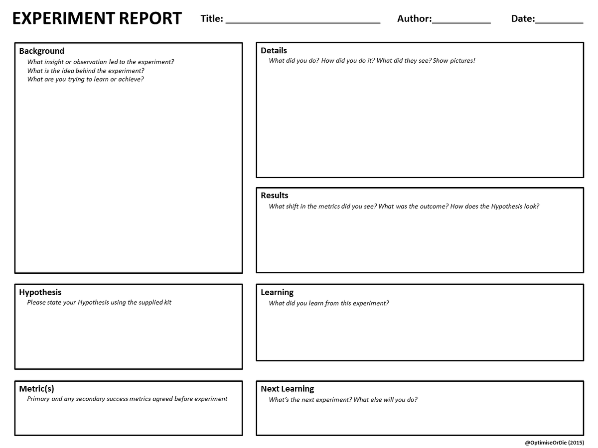 Craig Sullivan On Twitter Downloadable A3 Experiment Sheet Lean Documents For Testing Cycles