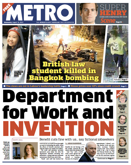 METRO FRONT PAGE: 'Department for Work and Invention' #skypapers