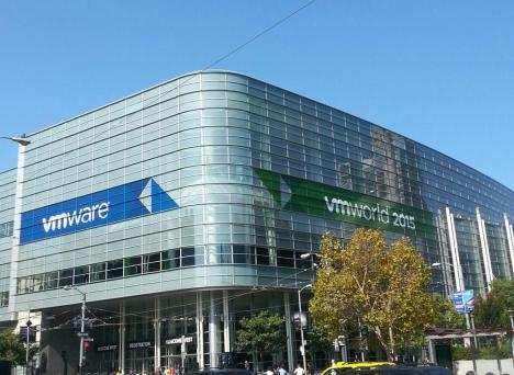 Image of VMware and VMworld banners on the Moscone Center building.
