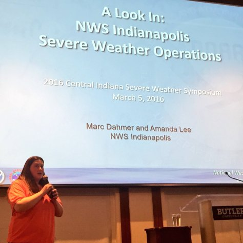 NWS meteorologist Amanda Lee begins a presentation on what goes on at the Indianapolis NWS office during severe weather events. Photo from Twitter by John Lobban Radio (@JohnLobbanRADIO)