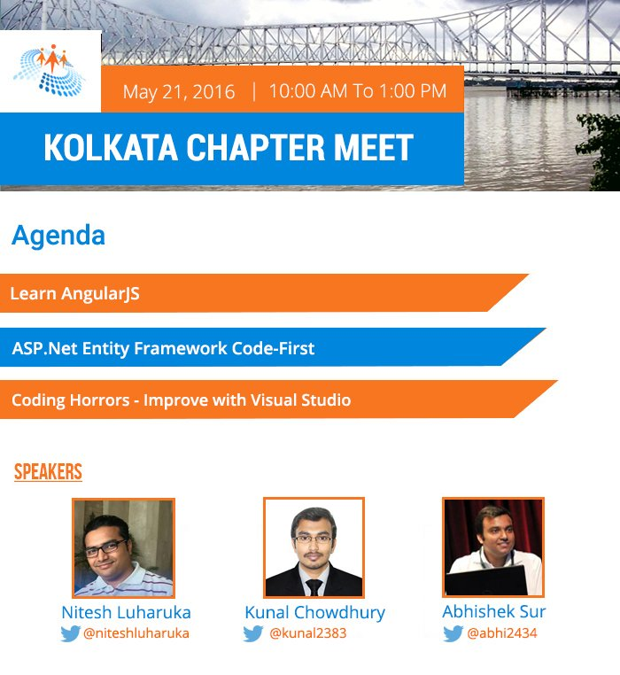 Come join @CsharpCorner Kolkata Chapter to learn a variety of technologies wd #VisualStudio