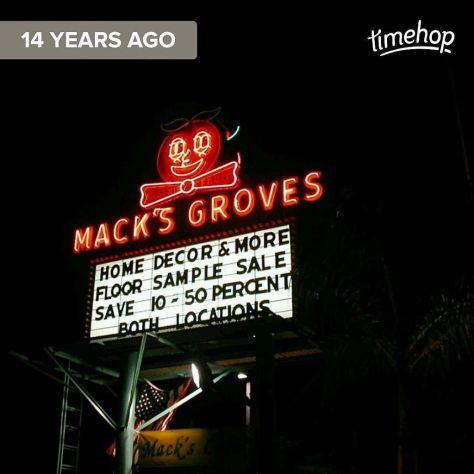 Mack's Groves Neon Orange sign