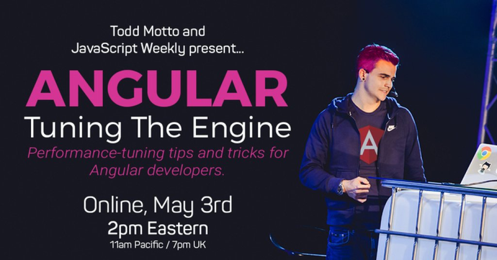 In a few minutes, @toddmotto is giving an online talk about Angular performance. Join us @  🚄